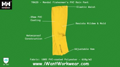 Helly Hansen 70429 Mandel PVC-coated Rain Pants Infographic