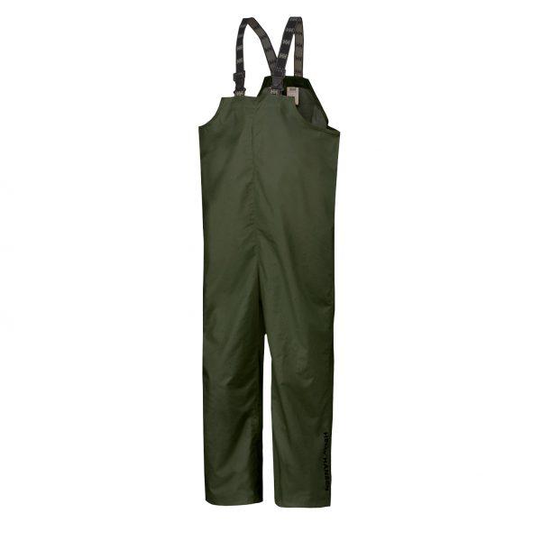 70529 Helly Hansen Workwear Mandal Fishermans PVC Rain Bib Army Green