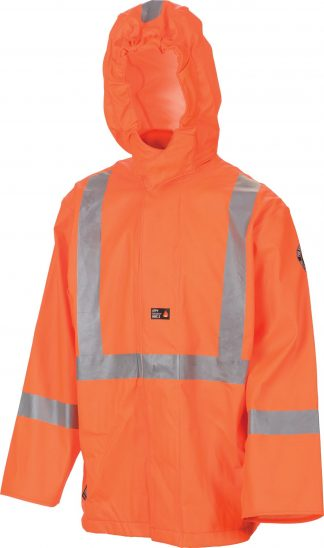 Helly Hansen Workwear 70219 Cornerbrook High Visibility Flame Retardant Rain Jacket, CSA Compliant, Front