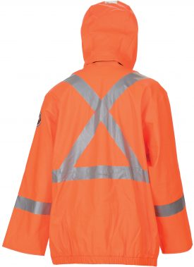 Helly Hansen Workwear 70219 Cornerbrook High Visibility Flame Retardant Rain Jacket, CSA Compliant, Back