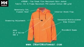 70240 Helly Hansen Fox Creek Oil & Fire Resistant Rain Jacket, Infographic