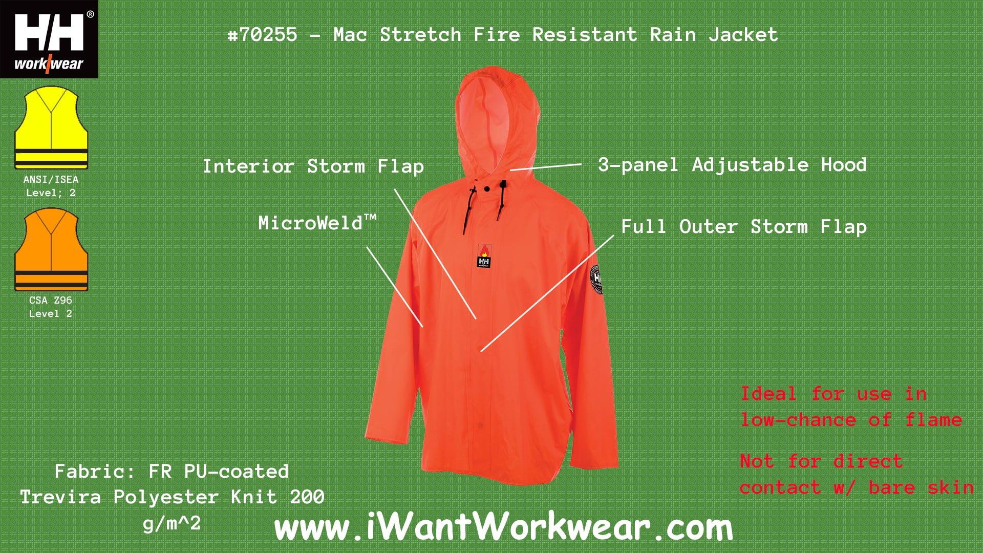 f4d0464a1318 Helly Hansen Workwear 70255 Mac Stretch Flame Retardant Rain Jacket