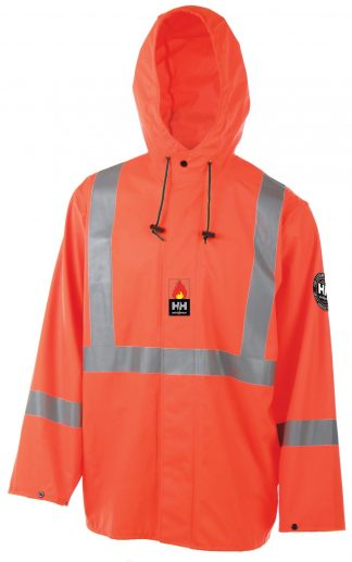 70256 Helly Hansen Alberta Stretch High Visibility Flame Retardant Rain Jacket, Front
