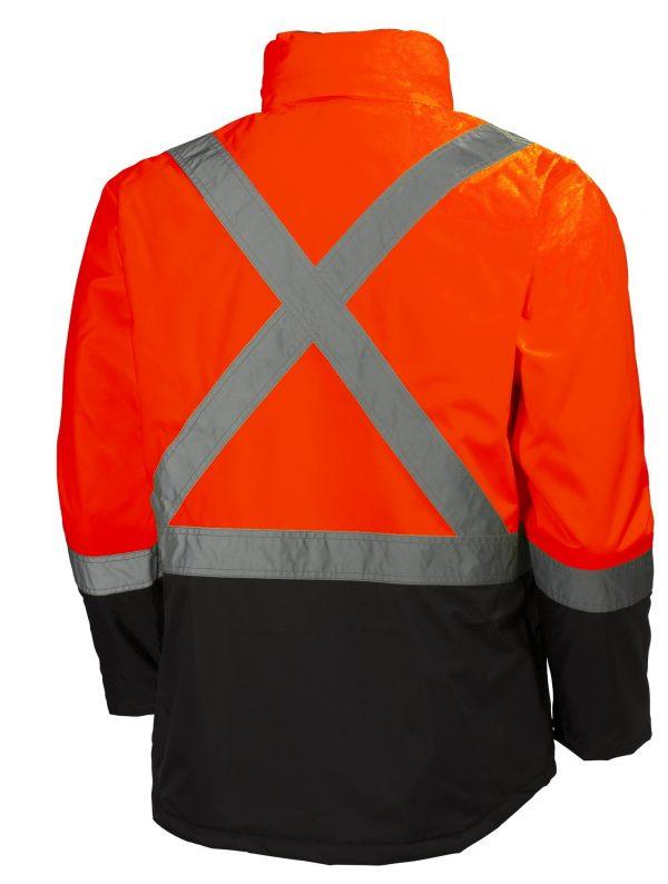 Helly Hansen 70336 Alta Class 3 High Visibility Insulated Rain Jacket, Orange Back