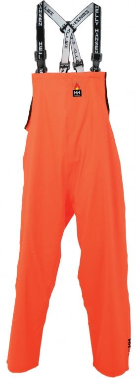 70555 Helly Hansen Workwear Men's Mac Stretch Flame Retardant Bib Pant, Microweld™ Construction, Front
