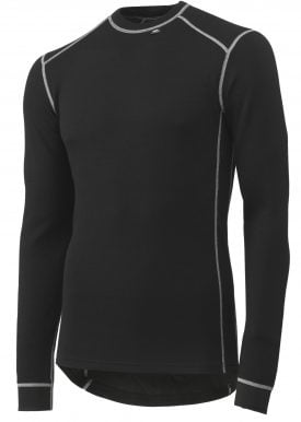 75026 Helly Hansen Workwear Roskilde Merino Wool Long Sleeve Thermal Shirt w/ Lifa® Moisture Wicking Technology, Black Front
