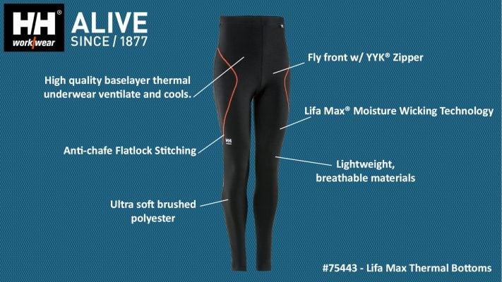 75443 Helly Hansen Workwear Lifa Max Thermal Underwear /w Lifa® Moisture Wicking Technology