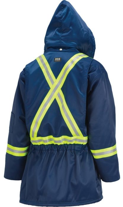 76313 Helly Hansen Workwear Men's Weyburn High Visibility Thermal Lined Parka w/ 3M™ Scotchlite™ Reflective, CSA Compliant, Blue Back