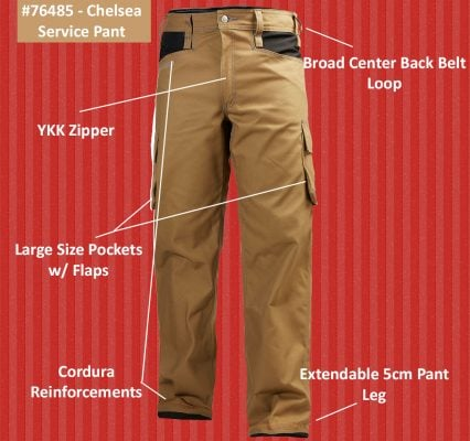 76485 Helly Hansen Workwear Men's Chelsea Service Work Pants, Infographic