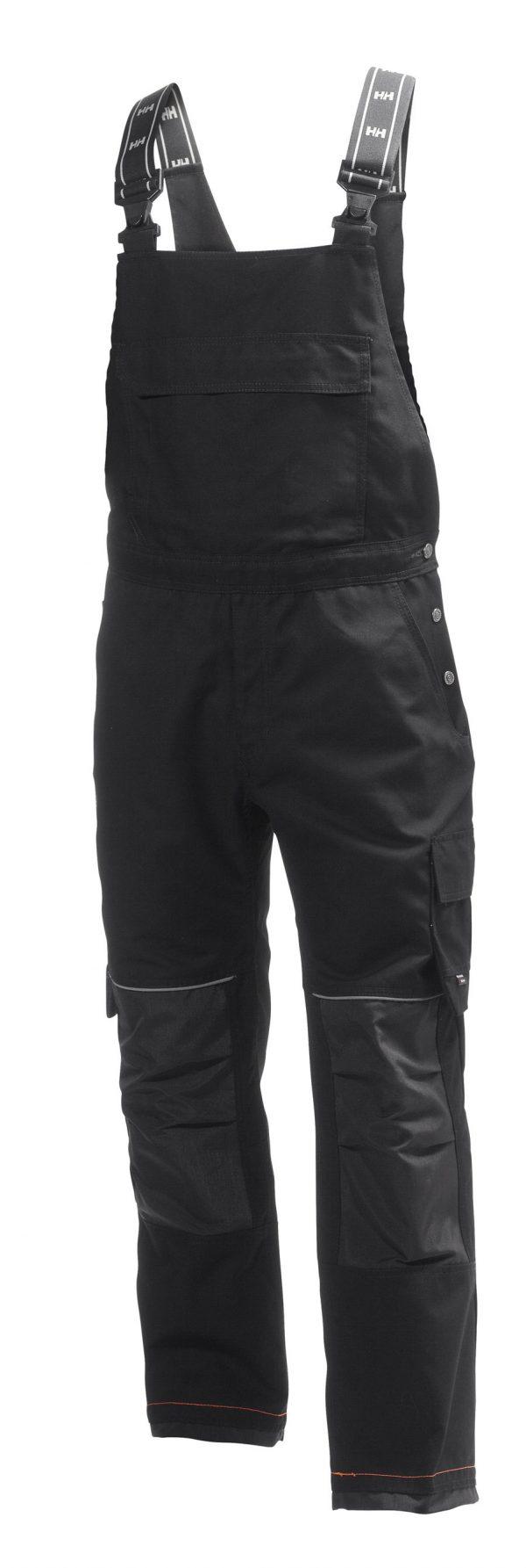 76541 Helly Hansen Workwear Men's Chelsea Construction Bib Pant w/ Cordura® Reinforcement, Hammer Holster & Hanging Pockets, Black Front
