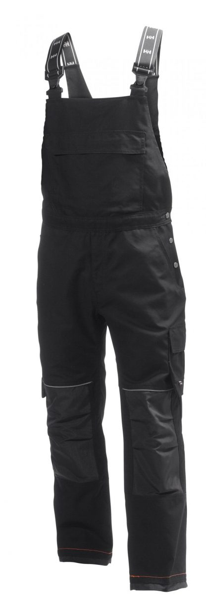 76541 Helly Hansen Workwear Men's Chelsea Construction Bib Pant w/ Cordura® Reinforcement, Hammer Holster & Hanging Pockets, Black Front