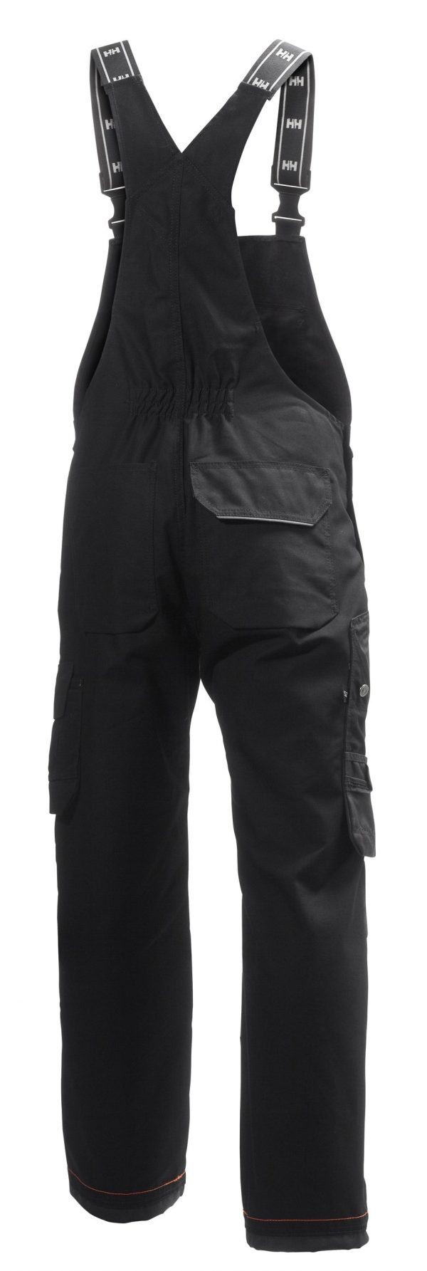 76541 Helly Hansen Workwear Men's Chelsea Construction Bib Pant w/ Cordura® Reinforcement, Hammer Holster & Hanging Pockets, Black Back
