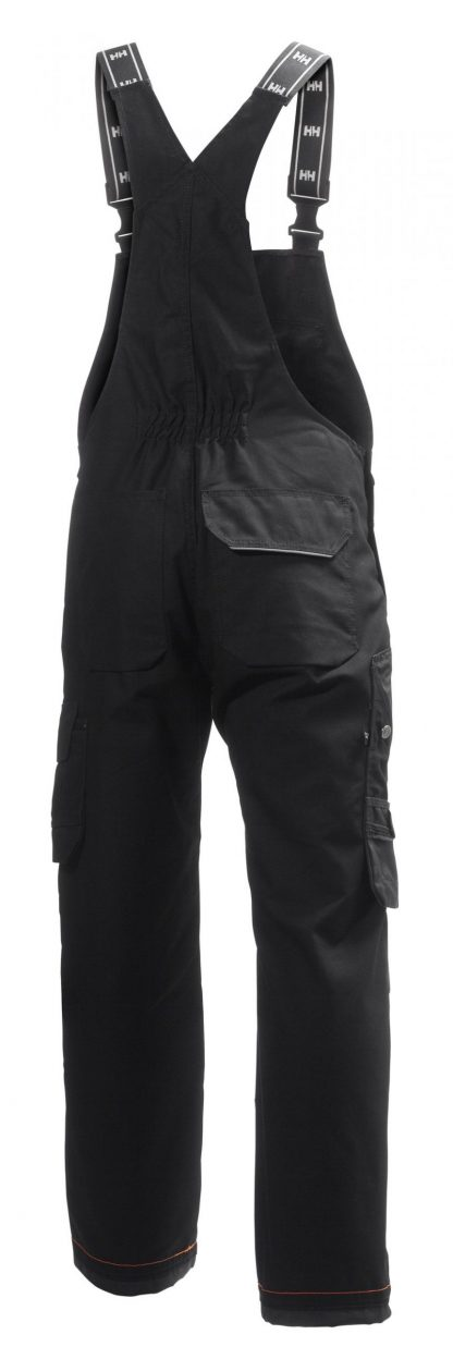 76541 Helly Hansen Workwear Men's Chelsea Construction Bib Pant w/ Cordura® Reinforcement, Hammer Holster & Hanging Pockets, Black Back