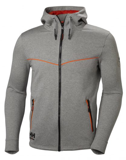 Helly Hansen Workwear 79197 Men's Chelsea Evolution Hoodie, Gray, Front