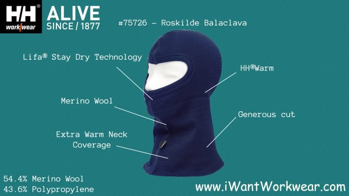 75726 Helly Hansen Roskilde Balaclava Infographic www.iwantworkwear.com