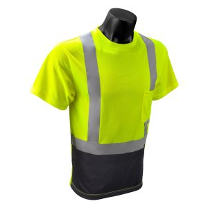 Radians ST11B Type R Class 2 Short Sleeve Black Botton T-shirt, Green Front