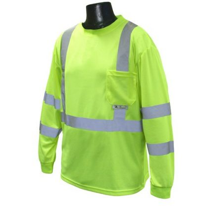 Radians ST21-3 Class 3 Long Sleeve T-shirt w/ Max-Dri™, High Visibility Green, Front