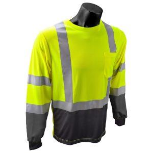 Radians ST21B Class 3 High Visibility Long Sleeve T-shirt w/ max dri moisture wicking technology, Front