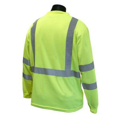 Radians ST21-3 Class 3 Long Sleeve T-shirt w/ Max-Dri™, High Visibility Green, Back