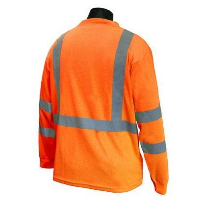 Radians ST21-3 Class 3 Long Sleeve T-shirt w/ Max-Dri™, High Visibility Orange, Back