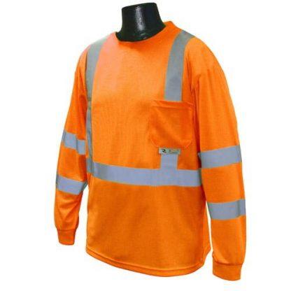 Radians ST21-3 Class 3 Long Sleeve T-shirt w/ Max-Dri™, High Visibility Orange, Front