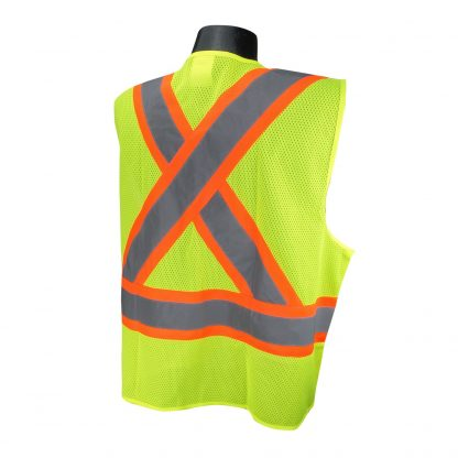 Radians SV22X Class 2 Green Mesh Safety Vest with Two-tone Reflective Striping X-Back, Back