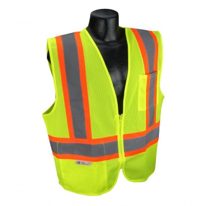 Radians SV22X Class 2 Green Mesh Safety Vest with Two-tone Reflective Striping X-Back, Front