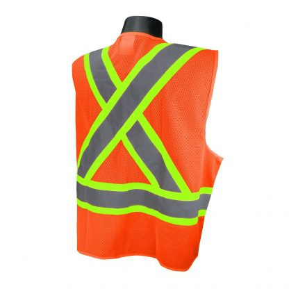 Radians SV22X Class 2 Orange Mesh Safety Vest with Two-tone Reflective Striping X-Back, Back