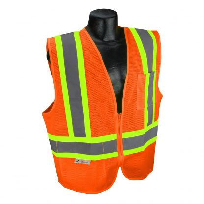 Radians SV22X Class 2 Orange Mesh Safety Vest with Two-tone Reflective Striping X-Back, Front