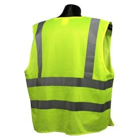 Radians SV45-2 Class 2 Fire Resistant Self Extinguishing Breakaway High Visibility Green Safety Vest Back