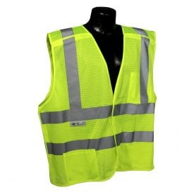 Radians SV45-2 Class 2 Fire Resistant Self Extinguishing Breakaway High Visibility Green Safety Vest