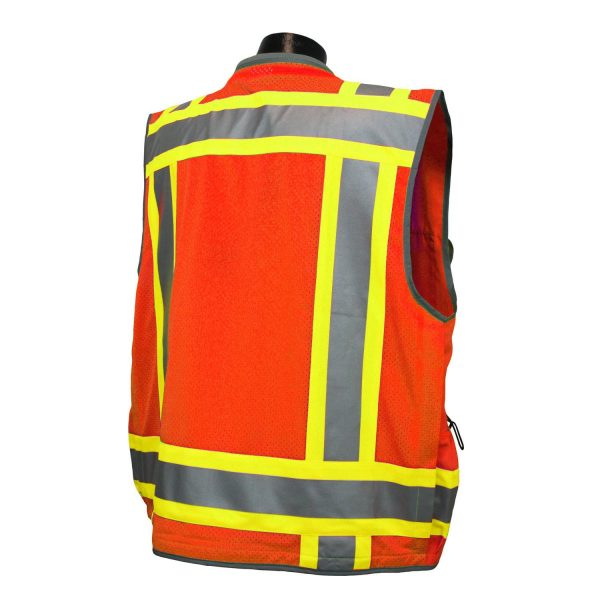 Radians SV55 Heavy-woven Two-tone Engineer Safety Vest Orange, Back