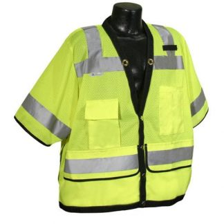 Radians sv59 Class 3 Heavy Duty Mesh Safety Vest, High Visibility Green, Front