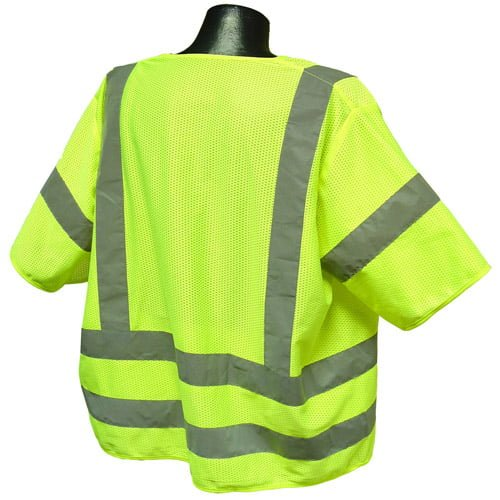 Radians SV83 Class 3 Standard Safety Vest, High Visibility Green Mesh Back