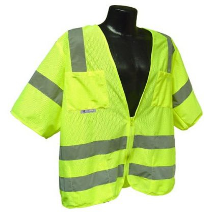 Radians SV83 Class 3 Standard Safety Vest, High Visibility Green Mesh Front