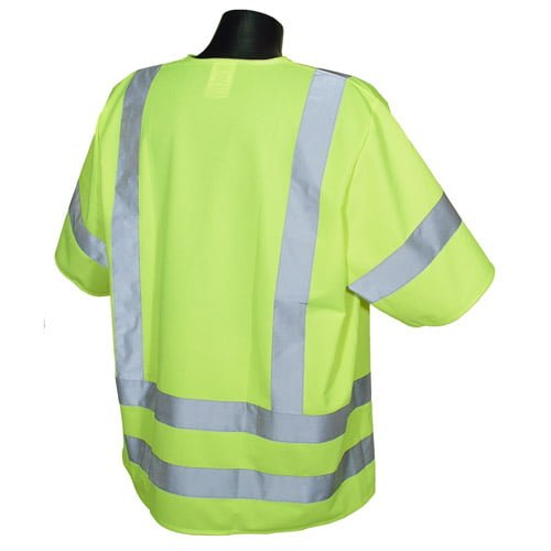 Radians SV83 Class 3 Standard Safety Vest, High Visibility Green Solid Back