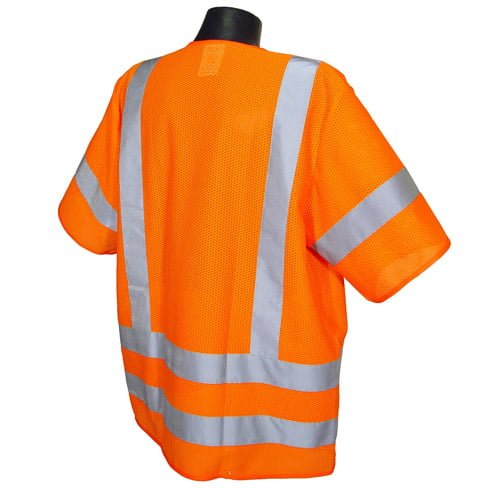 Radians SV83 Class 3 Standard Safety Vest, High Visibility Orange Mesh Back