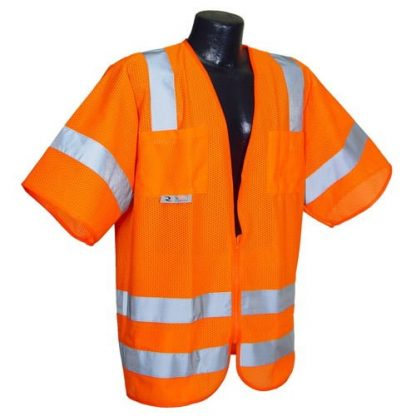 Radians SV83 Class 3 Standard Safety Vest, High Visibility Orange Mesh Front