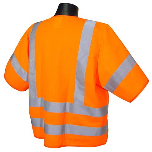 Radians SV83 Class 3 Standard Safety Vest, High Visibility Orange Solid Back