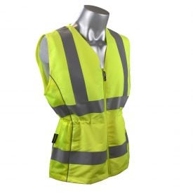 "Radians SVL1 Women's ANSI Type R Class 2 High Visibility Safety Vest w/ Adjustable Waist, Pocketed, 2"" Reflective Tape, Front"
