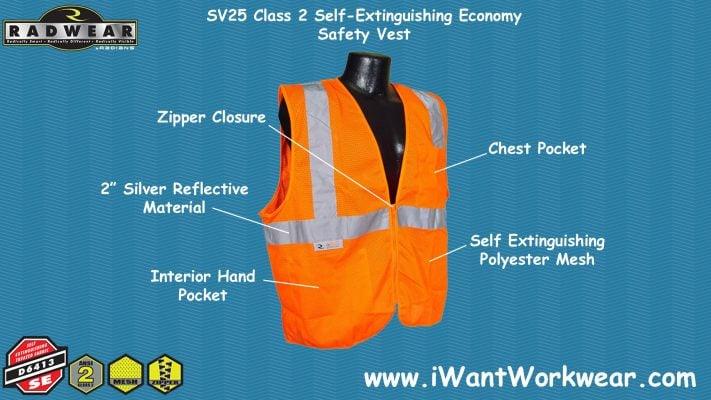 Radians SV25 Class 2 Self Extinguishing Economy Safety Vest