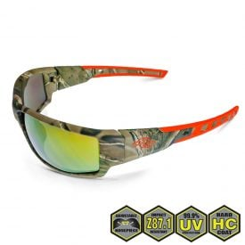 Radians Crossfire Cumulus Safety Glasses, 411432 Gold Mirror and Camo Frame