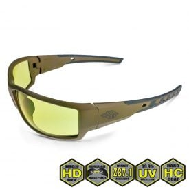 Radians Crossfire Cumulus Safety Glasses, 41285 HD Yellow and Tan SDE Frame