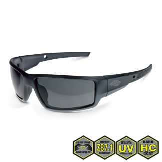 Radians Crossfire Cumulus Safety Glasses, 41291 Smoke and Aluminum Gray Frame