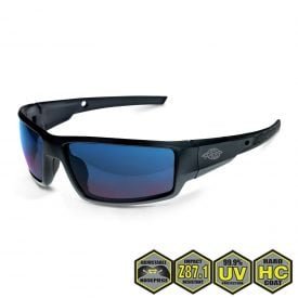 Radians Crossfire Cumulus Safety Glasses, 41626 Blue Mirror and Matte Black Frame