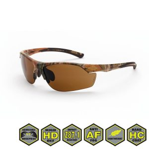Radians Crossfire AR3 Safety Glasses, HD brown lens, 16146 HD brown lens, woodland brown camo