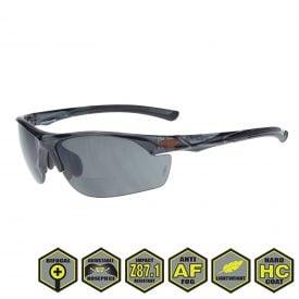 Radians Crossfire Safety Eyewear, AR3 Bifocal Reader's Glasses, Smoke Lens, Crystal Black Frame