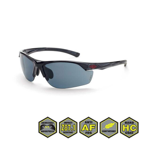 Radians Crossfire AR3 Safety Glasses, Super dark smoke, crystal black