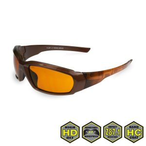 Radians Crossfire Arcus Safety Glasses, 451107 HD Brown lens, Espresso Graphic frame