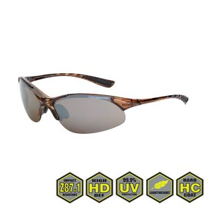 Radians Crossfire Premium Safety Glasses, 15117 HD brown flash mirror, crystal brown
